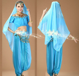 Wholesale Dance Costumes For Girls - Wholesale-Women's girls Halloween Cosplay Party Belly Dance Aladdin Princess Jasmine Costume Adults fashion costumes for women 6 colors