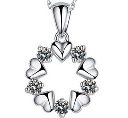 Wholesale Christmas Necklace Set Love - 30% 925 sterling silver Top Grade Diamond Cubic Zircon Heart to Heart Round Pendant necklace For Wedding Dress Sets Party