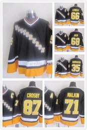 Wholesale Lemieux Ccm Jersey - Factory Outlet Pittsburgh Penguins Hockey Jersey 68 Jaromir Jagr 35 Barrasso 71 Evgeni Malkin 66 Lemieux 87 Crosby 1996 Throwback CCM Vinta