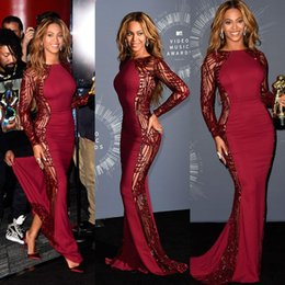 Wholesale Gown Music - Beyonce Video Music Awards Celebrity Dresses With Long Sleeve Crew Neck Sweep Train Red Carpet Beading Evening Gowns Backless Formal Dress