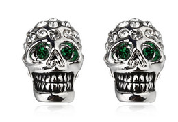Wholesale Gold Skull Studs - 1pair Italina Red Apple crystal Alloy plating K gold Terror cool jewelry skull Head bones stud earrings silver golden color