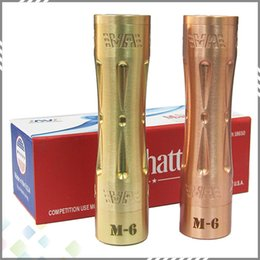 Wholesale Aluminum Gift Boxes - High quality Manhattan M6 Mechanical Mod 100% Copper Brass Material NO any Aluminum with gift box fit 18650 Battery DHL Free