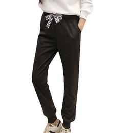 Wholesale Drawstring Loose Leggings - 2016 spring New Women Leggings Loose Pants Sports Trousers with Bow Pantalones Mujer Harajuku Joggers Casual Black Haram Pants