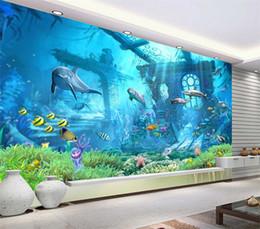 decoração da parede da pesca Desconto 3D em relevo Sea World Fish foto papel de parede mural de parede papel de parede para crianças quarto sala de estar Wall Art Decor Minion papel de parede