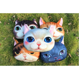 Wholesale Digital Printed Cotton Fabric - Cute New Chair Pillow Mr. Meow Shape3D Digital Cat Printing Nap Pillow Personality Car Cushion Cover Creative Cover Cute Seat Cushion