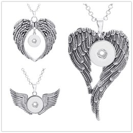slide snap button Promo Codes - Vintage noosa metal 18mm snap button necklace Angel's Wings pendant ginger snap button jewelry for women
