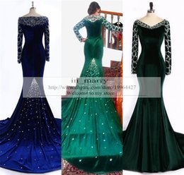 Wholesale Turquoise Crystal Long Dress - Luxury Arabic African Formal Dresses Evening Gowns 2016 Royal Blue Turquoise Velvet Crystal Beads Plus Size 2K16 Girls Prom Party Dresses