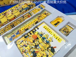 Wholesale Wholesale Childrens Toy Box - 20pcs New Hot Sale Minions stationery set children cartoon pencil cases box best gift for kids Childrens Cartoon Stationery