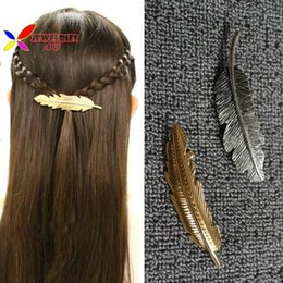 Wholesale Mixed Feathers For Hair - 2015 new fashion vintage 18k gold silver metal feather Hairgrips Hair clip for women accessories Jewelry grampos de cabelo
