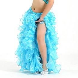 Wholesale Girls Belly Dance Skirt Costume - Girls Bubble Skirt Swing Long Skirts Belly Dance Costume One Side Split Performance Dancewear 8 Colors