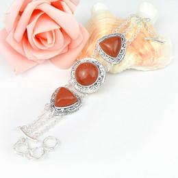 Wholesale Gemstone Vintage Bracelets - Vintage Special Gift Newest Crystal Fire Stars Sun Sitar Gemstone 925 Sterling Silver Plated Heart Bracelet Bangle Russia Bracelet Jewelry