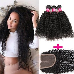 brazilian deep curly hair mix Promo Codes - 8A Mongolian Kinky Curly Deep Wave Loose Straight Body Wave Virgin Hair 3Bundles With 1 Lace Closure 100% Brazilian Peruvian Mongolian Hair