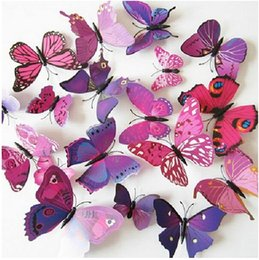 Wholesale 3d Butterfly Home Decorations - 12pcs 3D Art Butterfly Decal Wall Sticker Home Decor Room Decoration
