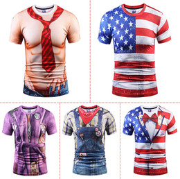 Wholesale Cool Pattern Designs - Men 3D Printed Short Sleeved Tops Flag Stars Printed Cool Muscles Pattern Design Tops Fashion Tees for Male