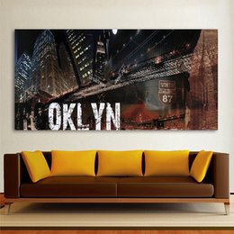 Wholesale paintings cityscapes - 1 Pcs Modern Decorative Landscape Cityscape Brookyln Canvas Art Home Decor Wall Pictures For Living Room Painting No Frame