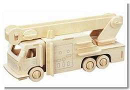 Wholesale Military Car Models - Wholesale-Scale Educational Toys Diy Cars Wooden 3D Jigsaw Puzzle Model Fire Truck