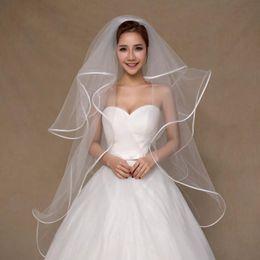 Wholesale Satin Flower Heads - 4T 1 Meters Ivory White Wedding Veil Short Bridal Veils Satin Edge Bridal Head Pieces Bridal Accessories