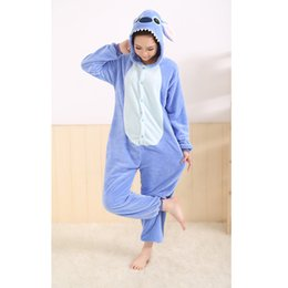 Wholesale Warm Costumes - Wholesale-All in One Flannel Anime Pijama Cartoon Cosplay Warm Easy for Bathroom Adult Unisex Homewear Cute Onesies Animal Pajamas Stich