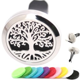Wholesale tree life oils - Aromatherapy Essential Oil surgical 30mm Stainless Steel Pendant Perfume Diffuser Car Trees of Life Locket Include 50pcs Felt Pads