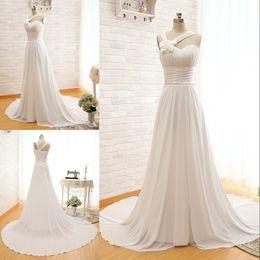 Wholesale One Hand Wedding Dresses - Cheap Customizable Chiffon Wedding Dress Handmade Flower One-Shoulder Lace-Up Sweep Train Beach Wedding Gown Elegant Bridal Dresses