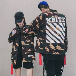 Wholesale Tuxedo Mens Boys - Off White High Quality Mens Womens Justin Bieber Camouflage Girls Boys Jacket Kanye West Fashion Military Camo Off White Jackets And Coats