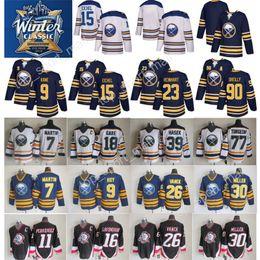 Wholesale 15 Yellow - 2018 Winter Classic Jerseys AD Buffalo Sabres 15 Jack Eichel Jersey 90 Ryan O'Reilly 9 Evander Kane Sam Reinhart Throwback Hockey Blue White