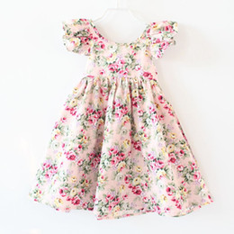 Wholesale Halter Ruffle Vintage Dress - DRESS girls clothing pink floral girls beach dress cute baby summer backless halter dress kids vintage flower dress