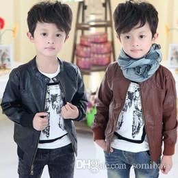 Wholesale Kids Pu Jacket - 2016 children pu leather jacket zipper kids boys winter jackets coats children clothing jackets for boys motorcycle jackets