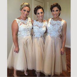 Wholesale White Tea Bridesmaid Dresses - Tea Length A line Bridesmaid Dresses 2018 Champagne Organza and White Lace Sheer Neck maid of honour Dresses Sexy Cheap Gown Vestido festa