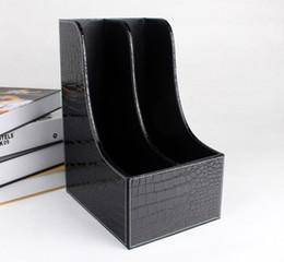 Wholesale Black Desk Organizers - Wholesale-2-slot curve wood leather desk file book box magazine self holder document filing organizer case croco black 223A