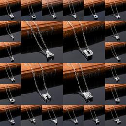 Iniziali di diamanti online-26 lettere dell'alfabeto inglese collana di diamanti di cristallo iniziali lettera pendenti per le donne ragazze gioielli regalo 160304
