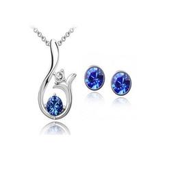 conjuntos de jóias safira azul escuro Desconto Atacado-Lovely Dolphin Jewelry Set Colar Pingente / Brinco Set Com Cristal Austríaco Moda Jóias de Prata Banhado 9 Cores Opções