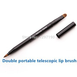 Wholesale Telescopic Cover - Portable telescopic double lip brush professional makeup brush lipstick eye shadow make-up Concealer multipurpose belt cover