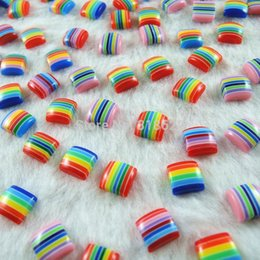 Wholesale Assorted Acrylic Shapes - New Assorted Colors Wholesale 8mm Acrylic mixed Flat Back Beads Square Shape Resin Half Beads 200pcs lot H-77