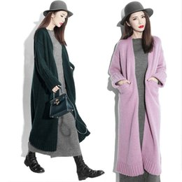 Wholesale Coat Charms - Charming Tea Length Long Women Sweater Coats 2016 New Arrival Fashion Long Knitted Cardigans Long Sleeve Knitting Sweater