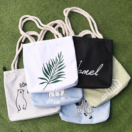 Wholesale Girls Shops - Free Shipping High Quality Canvas Tote Bag Fashion Women Handbags Girls Casual Shoulder Bags Students Environmental Protection Shopping Bag