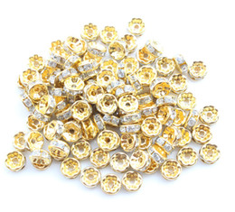 Wholesale Gold Spacers Mixed - Wholesale-Free Shipping 20pcs Lot 8MM Silver Plated Gold Flat Side Random Mixed Rhinestone Rondelle Spacers Beads Gold SPA17