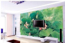 Wholesale lotus paper wallpaper - 3d wallpaper European minimalist bedroom living room TV backdrop Painting lotus 3D stripes abstract mural wallpaper 20157205