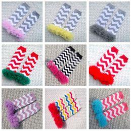 Wholesale Chiffon Ruffle Leggings - Wholesale-5 Pairs PINK GREY CHEVRON BABY GIRL Leg Warmers, Princess Ruffle Chiffon Trim Cotton Leg Warmers, Baby to Toddler