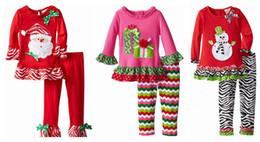 Costumes de père noël pour les garçons en Ligne-Hot baby boy costume de Noël enfants à manches longues haut père Noël + pantalon rayé 2pcs set bébé garçons vêtements de Noël en coton 4 style top qualité