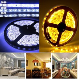 Wholesale Christmas Ribbons Roll - Wholesale-5M cool white warm white 3528 5050 5630 SMD 300 led flexible strip string Ribbon light tape Striscia Roll lamp + dc connecter