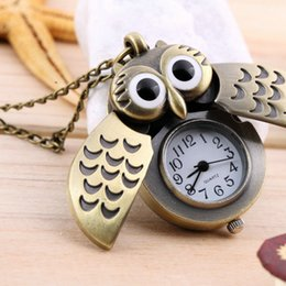 Wholesale Onyx Watches - Wholesale-High Quality Hot Cartoon Retro Bronze Owl Pocket Watch Sweater Chain Necklace Slide Watch