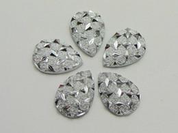 Wholesale Teardrop Glitter - 200 Silver Flatback Resin Glitter Stardust Teardrop Rhinestone Cabochons 9X13mm