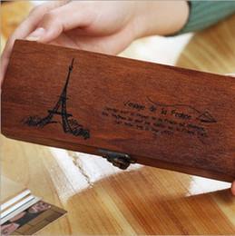 Wholesale Eiffel Pencil - 2016 new Eiffel Tower Wood Wooden Pen Pencil Box Stationery Storage Tidy Kids Gift Free Shipping 01500