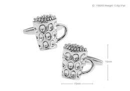 Wholesale Mens Mugs - High Quality New Classic Silver Copper Mens Wedding Cufflinks Novelty Rare Fancy Beer Mug & Clean Cloth 156055