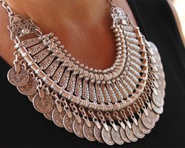 Wholesale Chic Crystals - Gypsy Bohemian Beachy Chic Coin Statement Necklace Boho Festival Silver Fringe Bib Coin Ethnic Turkish India Tribal