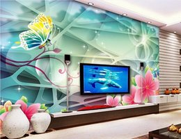 Wholesale Backdrop Fantasy - desktop wallpaper wood 3D Fantasy Peach Butterfly TV backdrop decorative painting