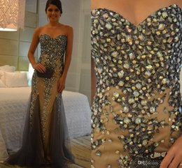 Wholesale Brown Rhinestone Brooches - 2015 Sexy Mermaid Crystal Prom Dresses Sweetheart Sweep Train Rhinestone Tulle Beads Party Evening Dress Sleeveless Luxury Evening Gowns HY