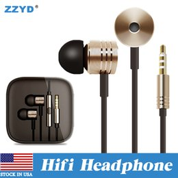 Wholesale Green Gold Ear - ZZYD 3.5mm Metal HIFI earphone Braided with TPE Headset Universal with mic Remote In-ear headphone For Xiaomi Samsung note8