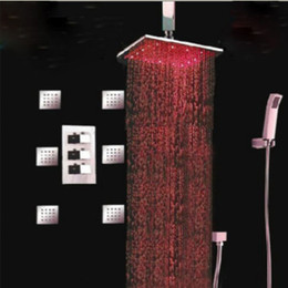 "Wholesale Rainfall Shower Massage - Wholesale And Retail Promotion Big Rainfall 16"" LED Thermostatic Shower Faucet 6 Massage Jets Body Spray Set"